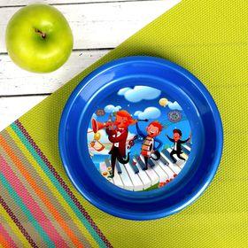 Тарелка детская, диаметр 14 см, высота 2,5 см, пластиковая с рисунком, цвета МИКС Ош