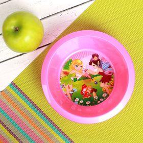 Тарелка детская, диаметр 12 см, высота 4 см, пластиковая с рисунком, цвета МИКС Ош