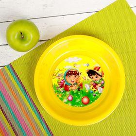 Тарелка детская, диаметр 15,5 см, высота 3,5 см, пластиковая с рисунком, цвета МИКС Ош