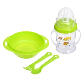 Children's tableware set, 4 pieces: a bowl of 200 ml, feeding bottle 180 ml, spoon, fork, MIX colors