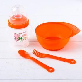 Набор детской посуды, 4 предмета: миска 300 мл, бутылочка для кормления 180 мл, ложка, вилка, цвета МИКС Ош