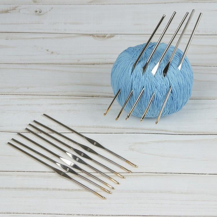 Набор крючков для вязания, d = 2,5 мм, 12 см, 12 шт, цвет серебряный