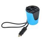 Разветвитель прикуривателя, в подстаканник, 2 гнезда, 2 USB 2.1A, 12/24 В