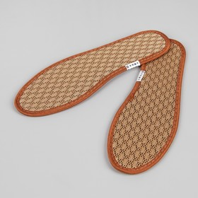 Стельки для обуви, ароматизированные, дышащие, окантовка, антибактериальные, 40 р-р, пара, цвет коричневый