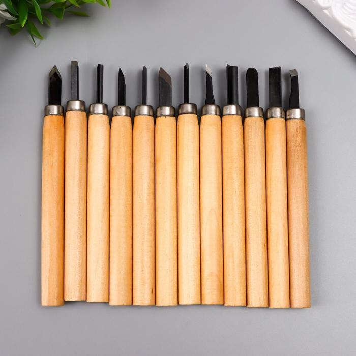 Набор ножей с деревянной ручкой 12 шт 20х17 см