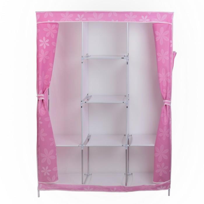Шкаф для одежды 130х45х175 см, розовые цветы