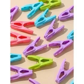 Набор прищепок в корзинке 6 см, 20 шт, цвет МИКС - фото 4635429