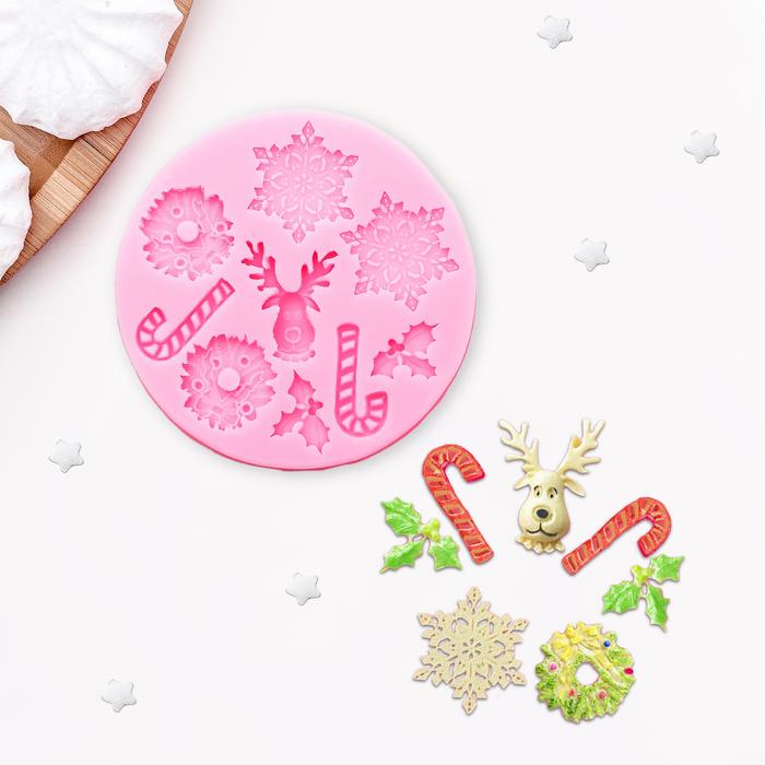 Молд силиконовый «Снежинки», 9,5 см - фото 308041680