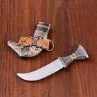 Сувенирный нож, ножны с оковками узорными, рукоять с поясом 15 см (8,5 см лезвие ) - фото 8875278