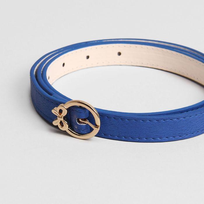 Ремень женский, гладкий, ширина - 1,5 см, пряжка золото, цвет синий
