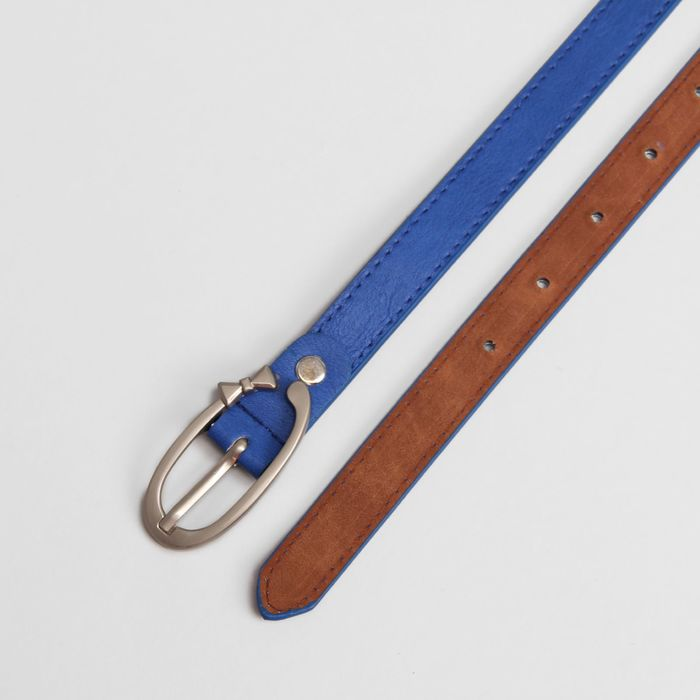 Ремень женский, гладкий, ширина - 1,8 см, пряжка матовый металл, цвет синий