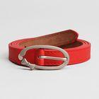 Ремень женский, гладкий, ширина - 1,8 см, пряжка матовый металл, цвет красный