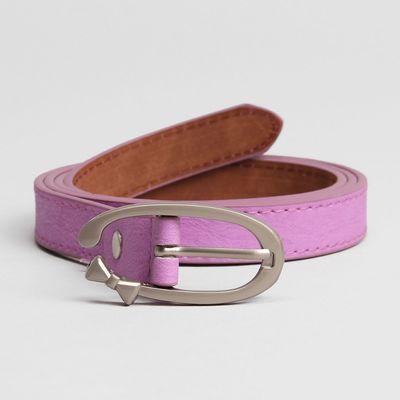 Belt female, smooth, width - 1.8 cm, buckle brushed metal, color lilac