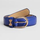 Ремень женский, гладкий, ширина - 2,5 см, пряжка бант золото, цвет синий