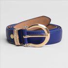 Ремень женский, гладкий, ширина - 2,5 см, пряжка золото, цвет синий