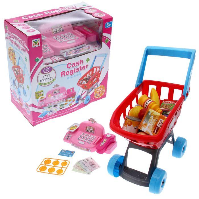 """Игровой набор """"Мини-магазин"""" с розовой кассой и тележкой"""