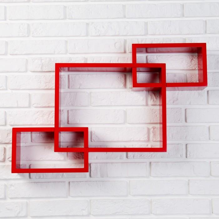 Набор полок 1+2 красные, большая 40*30см, 2 средних 25*15см - фото 1728297