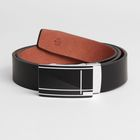 Ремень мужской, пряжка-зажим металл, гладкий, ширина - 3,5 см, цвет чёрный