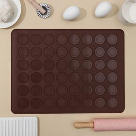 Mat macaroons 39x29 cm, Rond, color brown.
