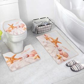 """Набор ковриков для ванны и туалета 3 шт 38х46, 40х45, 45х75 см """"Ракушки"""""""