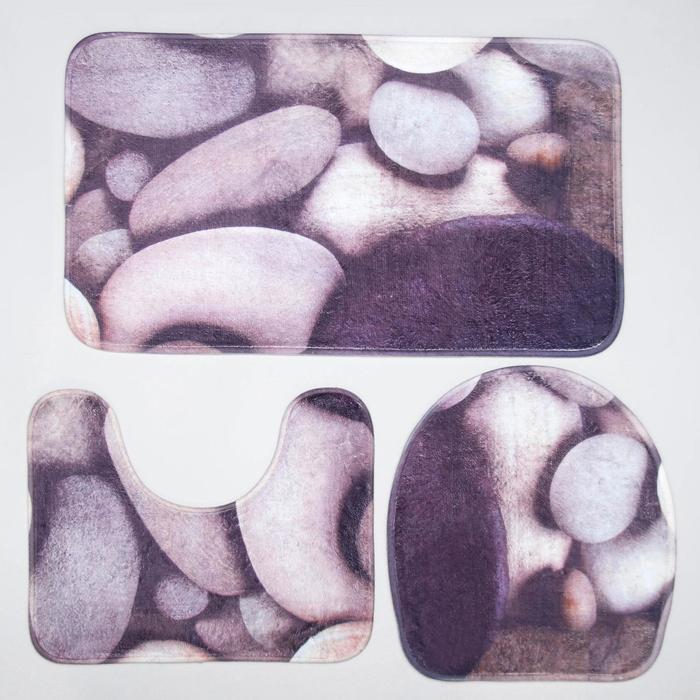 Набор ковриков для ванны и туалета Доляна «Камни», 3 шт: 38×46, 40×45, 45×75 см