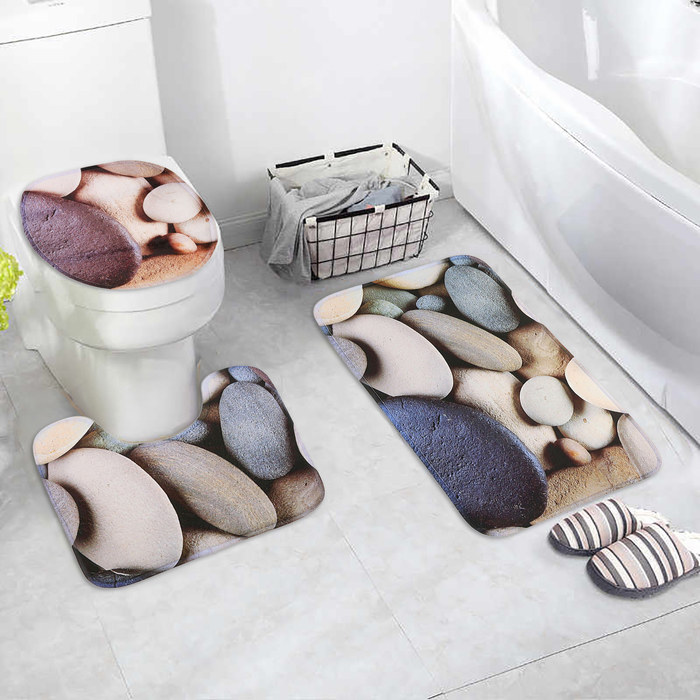 """Набор ковриков для ванны и туалета 3 шт 38х46, 40х45, 45х75 см """"Камни"""""""