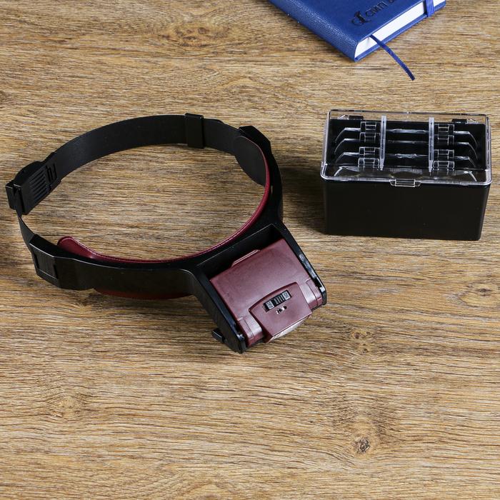 Лупа налобная 1,7-4,5х бинокулярная, с подсветкой