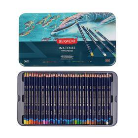 Карандаши акварельные набор 36 цветов, Derwent Inktense Чернильные, в металлическом пенале