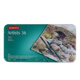 Карандаши художественные цветные Derwent Artists 36 цветов (восковая структура), в металлической коробке