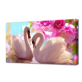 """Картина на подрамнике """"Лебеди в розовых цветах"""""""