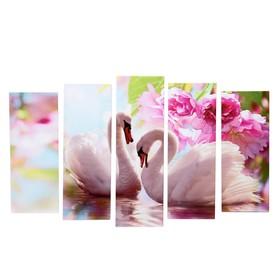 "Картина модульная на подрамнике ""Белые лебеди"" 2шт-21*54; 2шт-21*61; 1шт-21*68; 105*68 см"