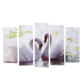 "Картина модульная на подрамнике ""Лебеди на фоне белых цветов"" 2шт-21*54; 2шт-21*61; 21*68см"