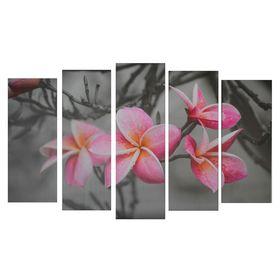 """Модульная картина на подрамнике """"Розовые цветы на сером фоне"""", 2 шт. — 21×54, 2 шт. — 21×61, 1 шт. — 21×68 см"""