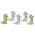 """Фигурные вырубки """"Жених и невеста-2"""" набор 6 шт,  9х6 см, золото и серебро (QS-D169-02)"""