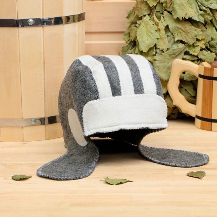 """Банная шапка """"Танкист"""", войлок, бело- серая"""