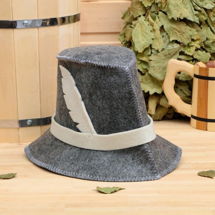 """Банная шапка """"Охотничья"""", войлок, серая"""