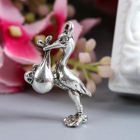 "Decor metal art ""Stork with baby"" (70565) 2,5x2 cm"
