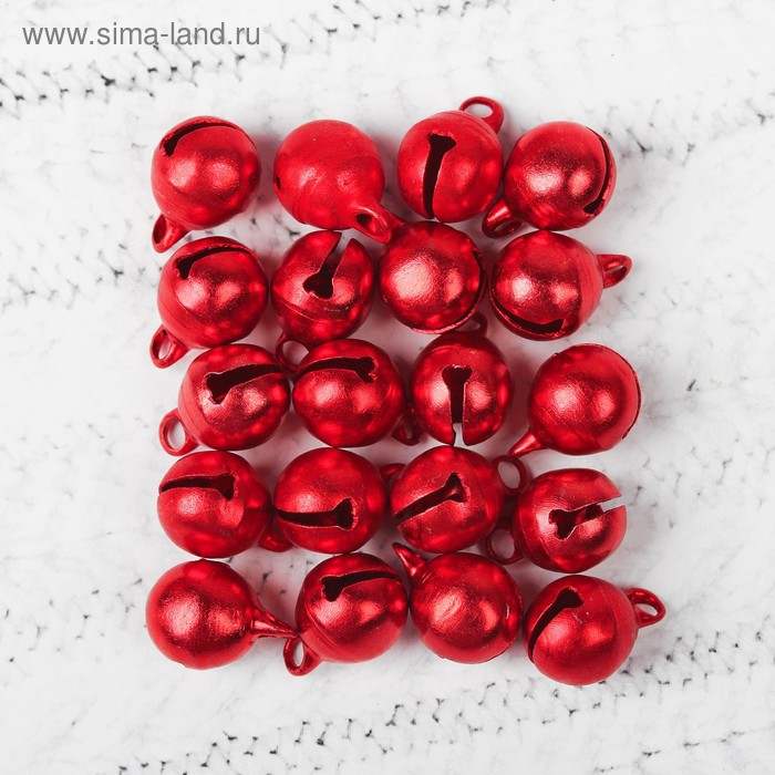 Бубенчики, набор 20 шт, размер 1 шт 1 см, цвет красный