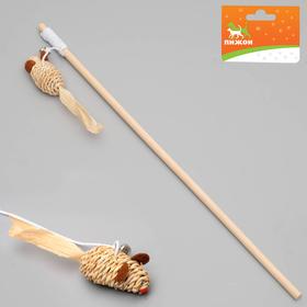 Дразнилка-удочка с мышкой, деревянная палочка 40 см