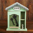 "Ключница дерево с полочкой ""Ключи от дома и пёсик"" 26,5х21,5х6 см"