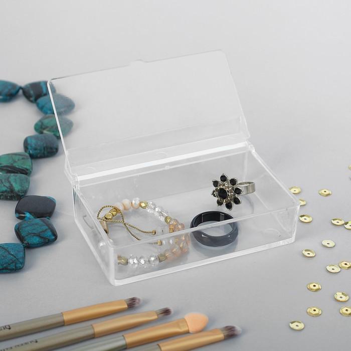 Короб для хранения мелочей, с крышкой, 10*7*3,5, оргстекло, цвет прозрачный