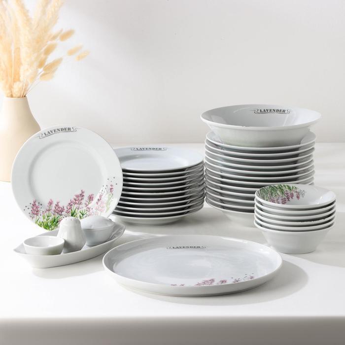 Сервиз столовый «Лаванда», 36 предметов, 2 вида тарелок - фото 389807969
