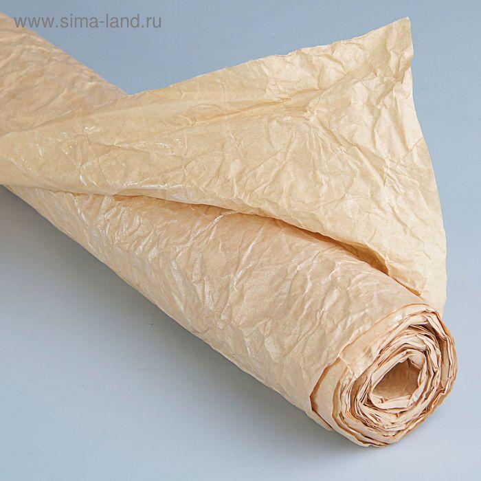 """Бумага для декорирования """"Эко люкс"""" посеребренная, жатая, бежевая, 0,7 х 5 м"""