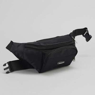 Сумка поясная, 1 отдел на молнии, 2 наружных кармана, регулируемый ремень, цвет чёрный, МИКС