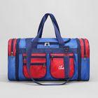 Сумка дорож ЛБ-420, отдел на молнии, 5 н/кармана, длинн ремень, синий/красный