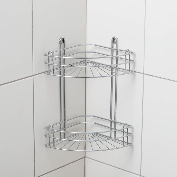 Полка угловая 2-х ярусная, цвет хром зеркальный