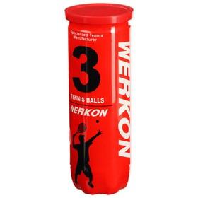 Мяч для большого тенниса WERKON 989, с давлением, набор 3 шт