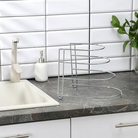 {{photo.Alt || photo.Description || 'Подставка для хранения сковородок на 3 предмета, 28×23×22 см, цинк, цвет серебристый'}}