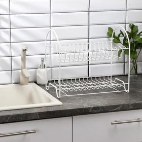 Сушилка для посуды 2-х ярусная «Люкс», 40×24×35 см, цвет белый