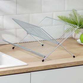 Сушилка для посуды складная, 31,5×39×20 см, цинк, цвет сребристый